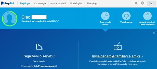 Paypal inviare e ricevere denaro