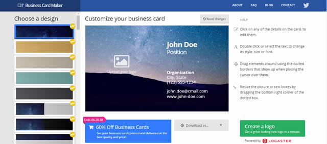 Creare Biglietti da Visita Online Gratis