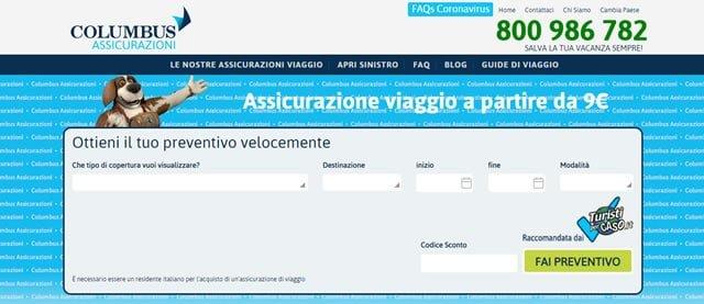 Columbus Assicurazione assicura viaggio online