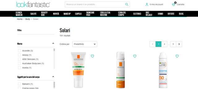 lookfantastic solari online