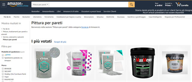 Amazon pittura per interni