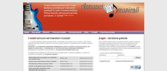 annunci musicali gratuiti