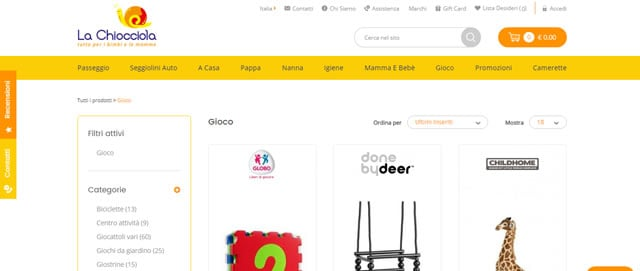 la chiocciola sito giocattoli online