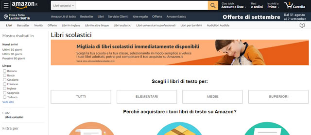 Amazon libri scolastici