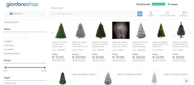 Giordano Shop alberi di natale