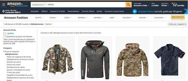Amazon abbigliamento tattico