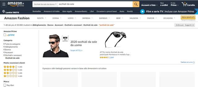 Amazon occhiali da sole Uomo e donna