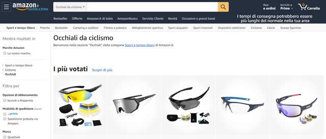Amazon Occhiali per ciclismo