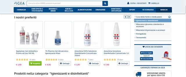 Farmacia Igea igienizzanti e disinfettanti