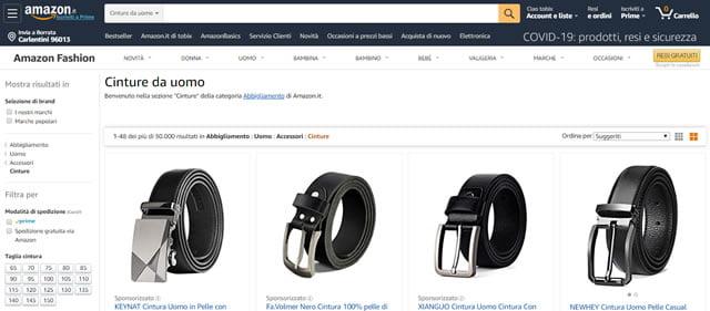 Amazon cinture uomo e donna