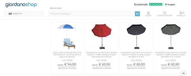 GiordanoShop ombrelloni da spiaggia