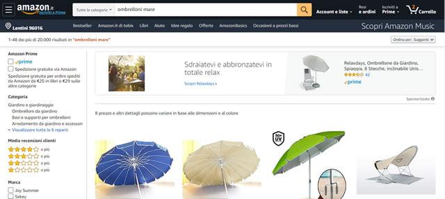 Amazon ombrellone da spiaggia
