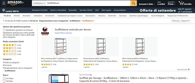Amazon Scaffali online