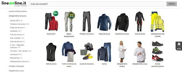 LineOnline abbigliamento da lavoro