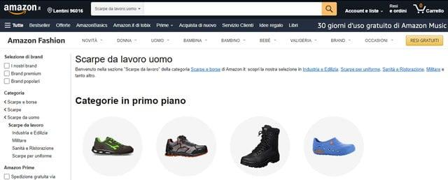 Amazon scarpe antifortunistiche