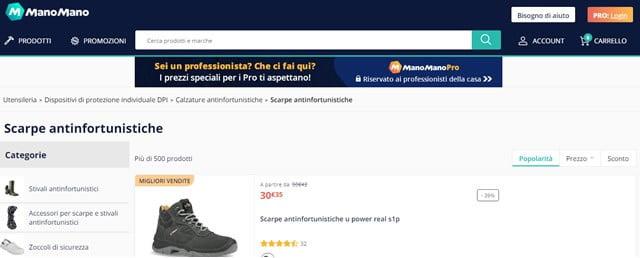 ManoMano scarpe antinfortunistiche