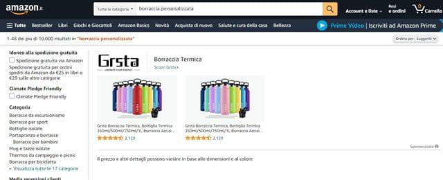 Amazon borracce personalizzate