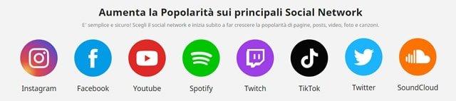 servizi disponibili su socialRaise